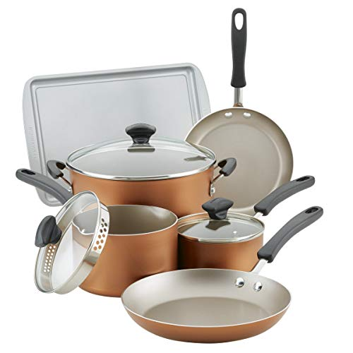 Farberware Cookstart Aluminum DiamondMax Nonstick Cookware Set, 15-Piece (Copper)