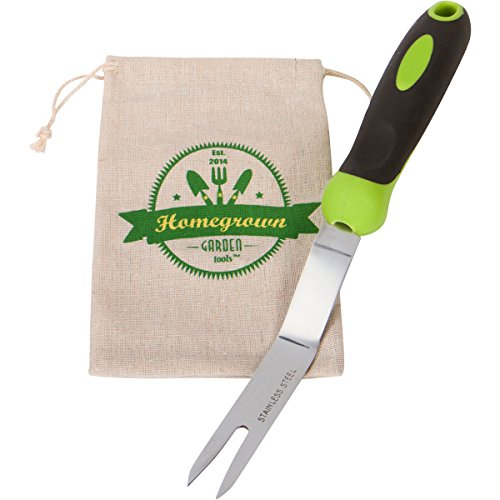 Garden Weeding Fork & Manual Weed Puller; Long Prongs and Ergonomic Handle, Includes Burlap Sack - Great Gardening Gift