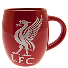 "OFFICIAL LIVERPOOL FC TEA TUB MUG. This mug is oversize, and holds over 16 ounces. Red in color, this mug also features the LFC iconic Liverbird in white. Dimensions of the tea tub mug are 4.5"" x 3.5"" THE LFC TEA TUB MUG MAKES A GREAT PRESENT. Liverp..."