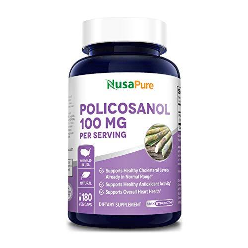 Policosanol 100mg 180 Veggie Capsules (Vegan, Non-GMO & Gluten-Free) Supports Healthy Cholesterol Levels in Normal Range*