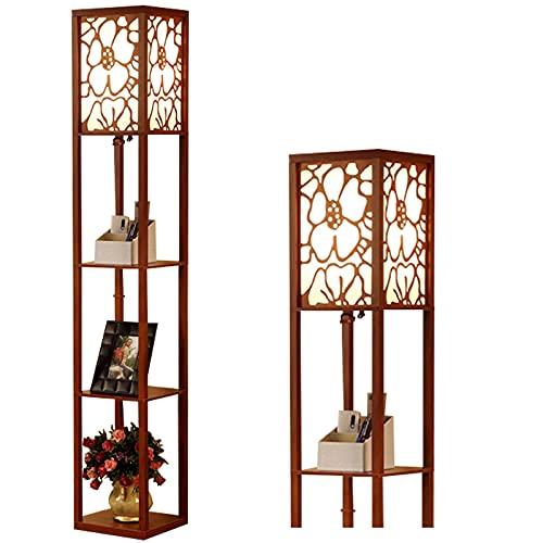 Iluminación interior 1,6 m Lámpara de pie de madera con estantes para dormitorio sala de estar (sin bombilla)