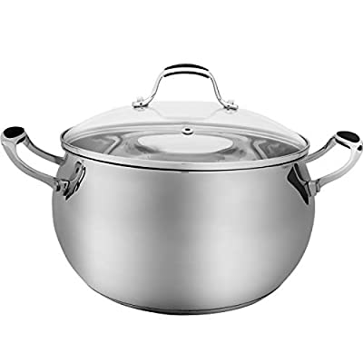 ELITRA Stainless Steel Casserole Pot and Glass Lid For All Stovetops 7 QT - Silver