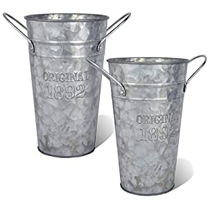LESEN Metal Galvanized Flower Vase – Set of 2 – Farmhouse French Bucket – Table Centerpiece Rustic Home Decor for Fresh and Dried Floral Arrangements for Home and Weddings