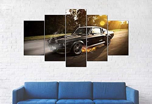 GSDFSD Art Enlienzo Póster Mustang Shelby GT500 Coche Deportivo 5 Piezas Pared Mural para Decoracion Cuadros Modernos Salon Dormitorio Comedor Cuadro Impresión Piezasmaterial