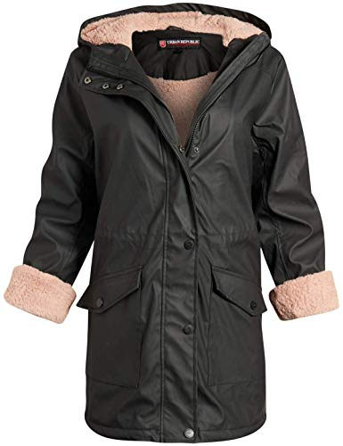 Urban Republic Ladies Hooded Vinyl Rain Jacket with Fur Lining (plus size available), Size Small, Black Anorak