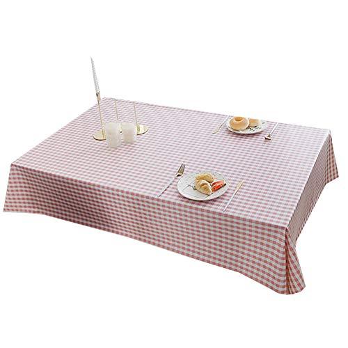 Tafelkleed Bedrukt tafelkleed Salontafel doek waterbestendig Olie resistent plastic Plaid Vierkante tafel en rond tafelkleed Diverse maten en kleuren,Pink,65X120cm