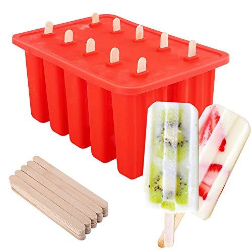 Nuovoware Eisformen, 10 Lebensmittelqualität Silikon Popsicle Form Set mit 100 EIS-Sticks, Große Kapazität DIY Eis Pop Macher, Rot