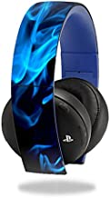 MightySkins Skin Compatible with Sony PS4 Gold Wireless Headset Headphones Sticker Skins Blue Flames