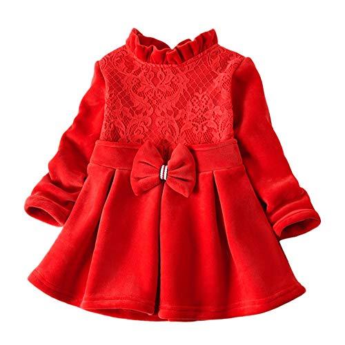 95sCloud Mädchenkleider Cocktailkleider Babykleider Baby Mädchen Weihnachten Dress Festlich Kleid Kleinkind Weihnachtskleid Flanellkleid Prinzessin Kleid Tops Hirsch Rock Kleidung (Rot, 2XL)