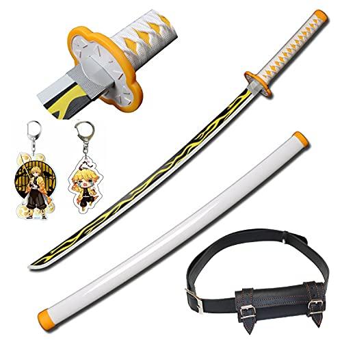 41'' Demon Slayer Blade COS Espada de madera Agatsuma Zenitsu Bamboo Sunwheel Cuchillo Prop Modelo Cosplay Anime Katana Swords Textura original Cuchillo samurái con cinturón de espada
