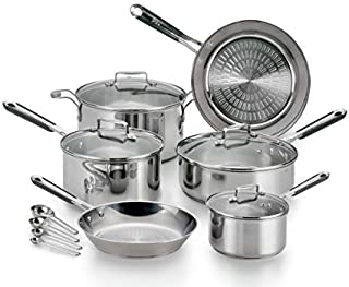 T-fal E760SC Performa 不锈钢厨具套装,银色 银色 14 Piece E759SE64