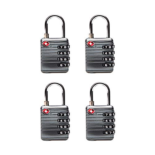 Travelkin TSA Compatible Travel Luggage Locks,4 Digit TSA Approved Padlock for Suitcase & Backpack