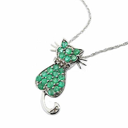 Colgante gato esmeraldas/diamantes - Plata de ley - Pendientes gratis