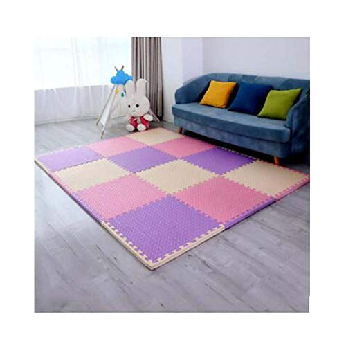 FCDWHJ Alfombras Puzzle para Bebé,Suelo Goma EVA Colores Pastel,Antideslizante para Niños, Juego de Alfombrillas puzle de Espuma,para Decoración de la habitación de los niños,Beige + Pink + Purple