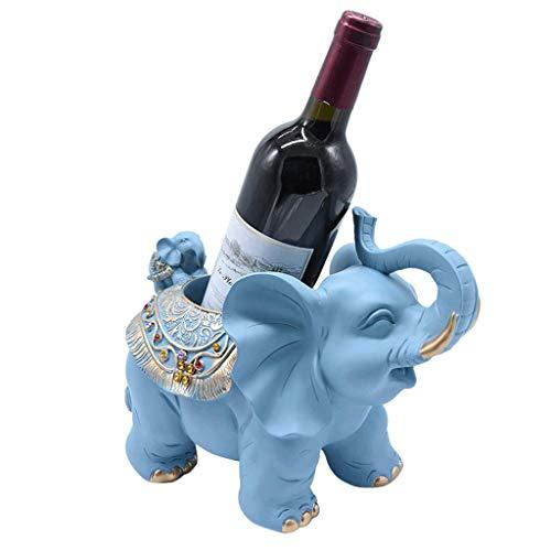 YNLRY Elefante Estante para Vino Resina Europea Sala De Estar Estante para Vino Decoración De La Cocina Almacenamiento para El Hogar Soporte De Botella -4 Colores (Color : Light Blue)