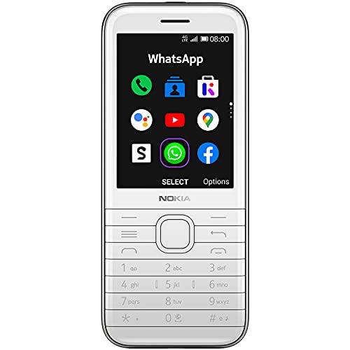 NOKIA 8000 Telefono Cellulare 4G Dual Sim, Display 2.8' a Colori, 4GB, Bluetooth, Fotocamera, Whatsapp, Bianco [Italia]
