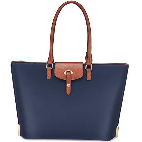 Realer Laptop Damen Handtasche 15,6 Zoll Arbeit Shopper Tasche Nylon Große Leichte Stilvolle Frauen Handtaschen Elegant Taschen Blau für Business/Schule/Reise/Einkauf