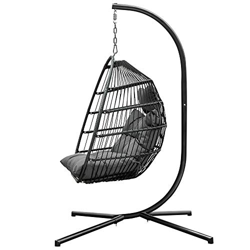 HLDBW Indoor Outdoor Hammock Chairs Swing Chair with Thickened Cushion Metal Bracket Oval Wicker Weave Rocking Chair Garden Patio Yard Hanging Egg Chair (Color : Gray, Size : 43×43×74inch)
