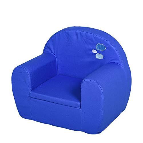 HOMCOM Kindersessel, Minisessel, Kindersofa für 10-36 Monaten alt, Volles Schaumstoff Design, Blau, 53 x 35 x 44,5 cm