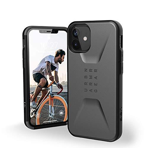Urban Armor Gear Civilian Hülle Apple iPhone 12 Mini (5,4'' Zoll) Schutzhülle (Wireless Charging kompatibles Cover, Sturzfeste Handyhülle, Ultra Slim Bumper) - Silber
