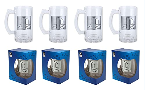 Juego de 4 vasos de cerveza con licencia oficial de Playstation de 500 ml con insignia de metal en caja de regalo