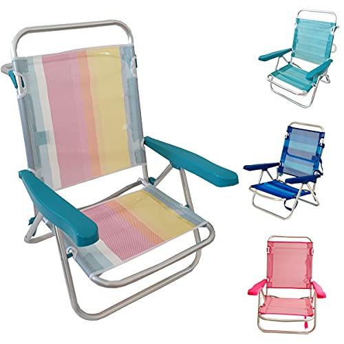 Silla Baja Plegable Evy Aluminio 80x62x50 cm. 4 Posiciones y 4 Colores (Multicolor Rayas)