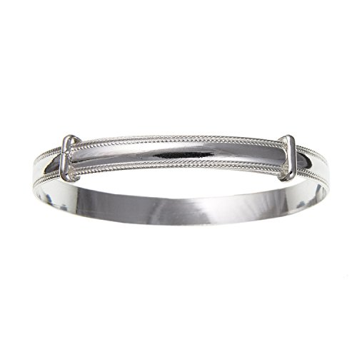 5MM Wide Milled Edge Expanding/Expandable LARGE BABY Bangle Bracelet - 925 Sterling Silver