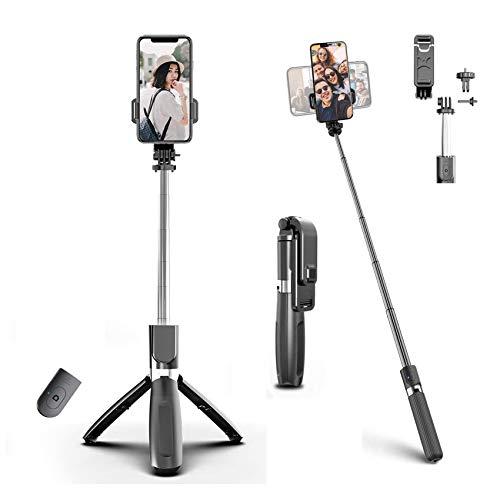 EasyULT Bastone Selfie Bluetooth, 3 in 1 Estensibile Asta Portatile Selfie Stick Treppiede, con Telecomando Bluetooth, per Huawei Samsung Galaxy e Altri Smartphone da 4.0-6.2 Pollici(Nero)