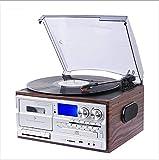 YQG Tocadiscos Bluetooth, Tocadiscos, CD, Casete, Radio Am/FM y Entrada Auxiliar con Puerto USB y codificación SD, Altavoz estéreo Incorporado, Reproductor de música Independiente
