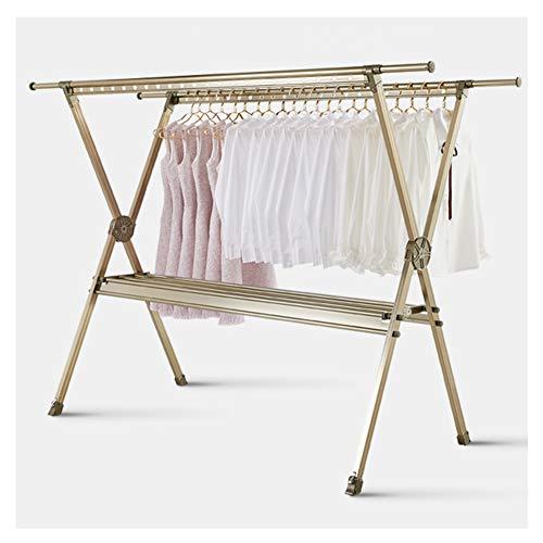 Clothes Airer Tendedero Extensible con Patas X Soporte para ArtíCulos PequeñOs Dimensiones Abierto 155 * 145 * 60Cm Champagne Color(M)
