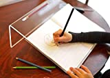 Playlearn Acrylic Ergonomic Writing Slope, Fully Transparent, Extra Wide for Better Writing Posture, 20 Degree Angle, Anti Slip with Pen Holder - Educational & SEN Resource - (Clear)