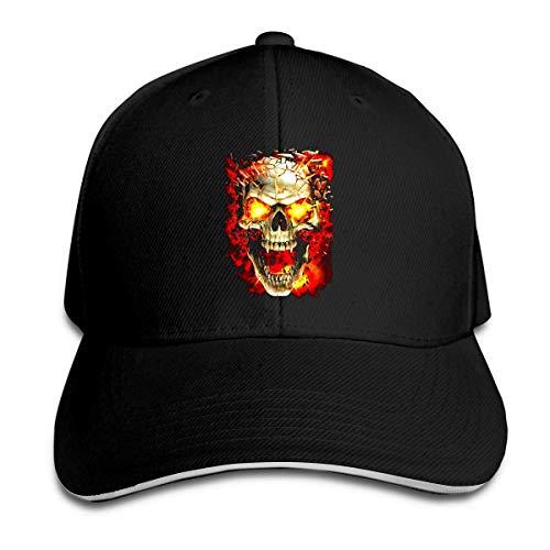 Men Women Skull Fire Vintage Cotton Baseball Cap Adjustable Fitted Dad Trucker Hat Black