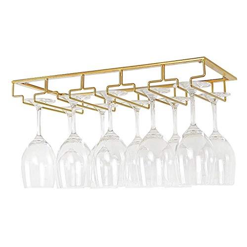AERVEAL Titular de Vino Rack de Copa de Vino, Debajo Del Gabinete Estante de Vino Tenedor de Vidrio Acabado de Latón de Acero Inoxidable - Colgante Topware de Almacenamiento