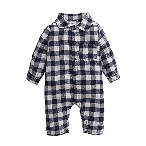 Alunsito Mameluco de manga larga para bebé recién nacido, mono a cuadros, mono de una sola pieza, ropa de otoño, azul, 6-9 meses