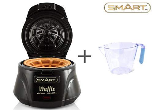 Smart, macchina per waffle, anti-aderente, con controllo automatico della temperatura, inclusa caraffa graduata con impugnatura morbida, SWB7000 - Nero