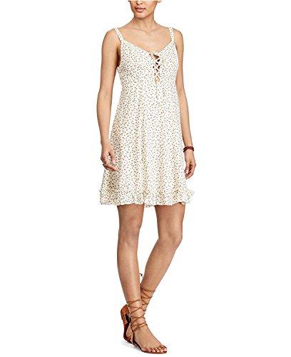 Denim & Supply Ralph Lauren Women's Floral-Print Lace-up Dress Wind Chime Floral Cream Combo XS