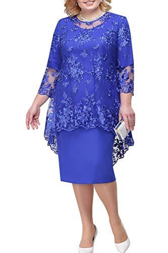 BABYONLINE D.R.E.S.S. Damen Brautmutterkleider mit Jacke Spitzen Hochzeitskleid 2 Stück Ballkleid Übergrößen Etuikleider Knielang, königblau, Gr.50
