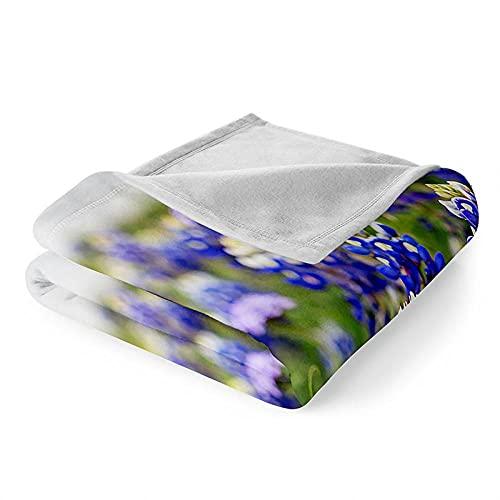 Mantas para Sofa Manta Microfibra de Franela Suave Cálido Batamanta Mujer Manta Pequeña para Cama o Sofá 150x200 cm Flor Azul