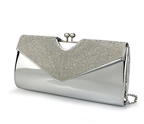 "This charming metallic sheen made with faux leather and feature the sparkling rhinestone overlay Size:10.5L x 5.1H x 1.6 W;detachable 47"" chain strap Double Secure Closure,Snap-fastening front flap & Kiss Locked Clasp ; A fully satin lining interior ..."
