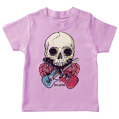 lepni.me Camiseta para Niños Guitarras, Calavera, Rosas - Amantes del Concierto de Rock & Roll (1-2 Years Rosado Multicolor)