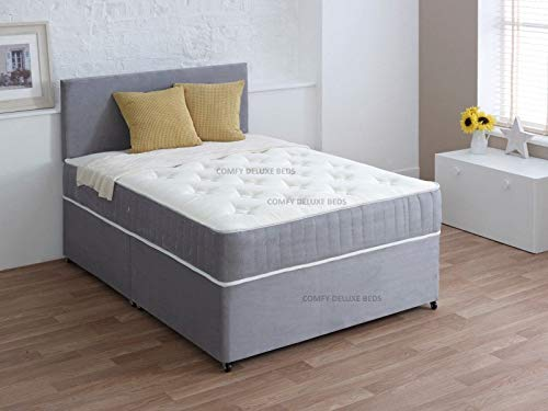 Luxury Suede Divan 3FT Single Bed Set with Mattress - HEADBOARD and Available Storage Drawers (3FT 2 Drawer, Silver Suede)