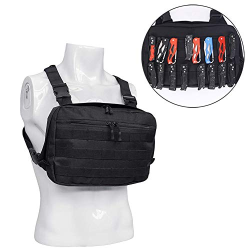 Universal Chest Rig Bag, Adjustable Shoulder Pack Walkie Talkie Bag, Functional Tactical Chest Pouch with MOLLE System for Men Women, 600D Oxford Harness Pocket Pack Radio Holster Gear Bag