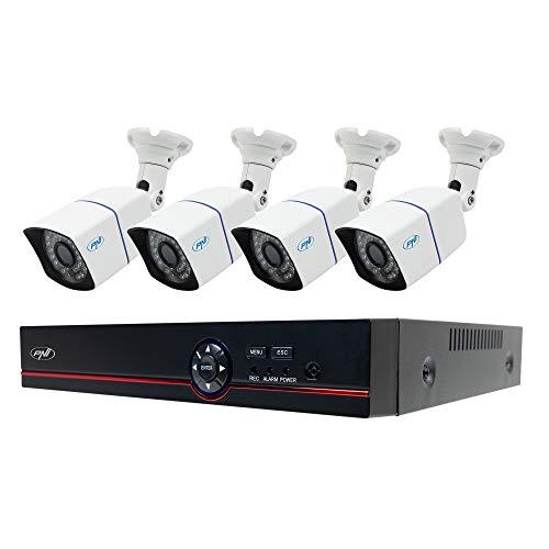 Kit de videovigilancia AHD PNI House PTZ1500 5MP - DVR y 4 cámaras de vigilancia para exteriores,H.265, detección de rostros, detección humana