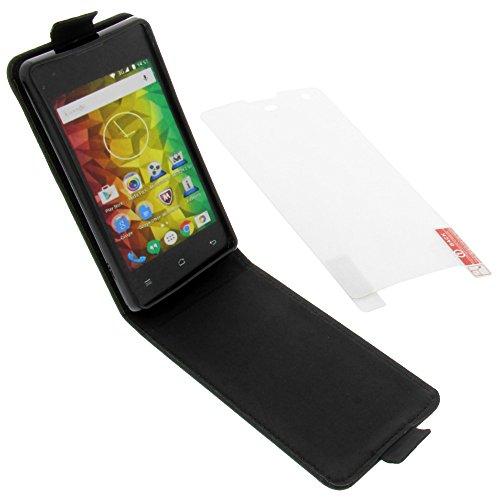 foto-kontor Tasche für MEDION Life E4005 Smartphone Flipstyle Schutz Hülle schwarz + Schutzfolie