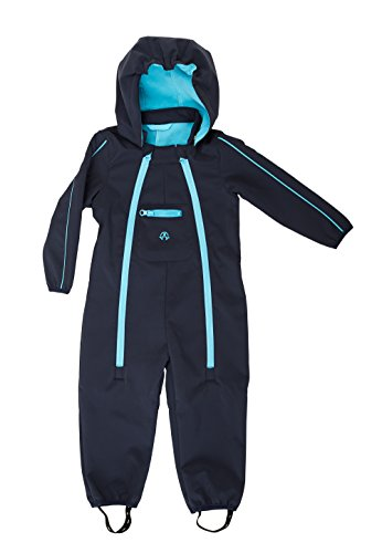 Unbekannt ELKA Baby Softshell Overall Softshellanzug in 2 Farben Größe 80 – 104 wasserdicht und wasserabweisend Wassersäule 3000 mm Atmungsaktivität 3000 g/m2/24h (92, Marine/Hellblau)