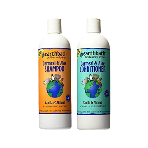 Earthbath Oatmeal & Aloe Pet Grooming Bundle - Vanilla & Almond Soap-Free Shampoo and Conditioner - Itchy & Dry Skin Relief, Helps Detangle, Aloe Vera, Vitamin E, Good for Dogs & Cats - 16 fl. oz Each