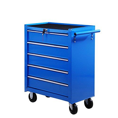 HOMCOM Fahrbarer Werkstattwagen Werkzeugwagen Rollwagen Werkzeugkasten mit 5 Schubladen blau