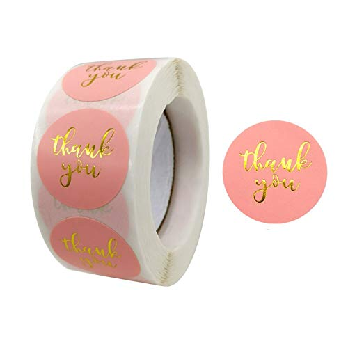 LQW HOME 500pcs Pink Gold Foil Lables Stickers Paper for Wedding Party Gift Card Decoration Gifts (Color : 9, Size : 500pcs)