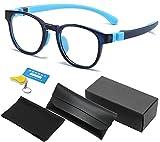 Gafas Luz Azul Para Niños Gafas Bloqueo de Computadora, Funda de Gafas, Protección UV Antirreflejo Gafas de Video,TV, Gaming,Vídeo, Chicos Niñas Monturas de Gafas Para Niña Filtros Para Monitores