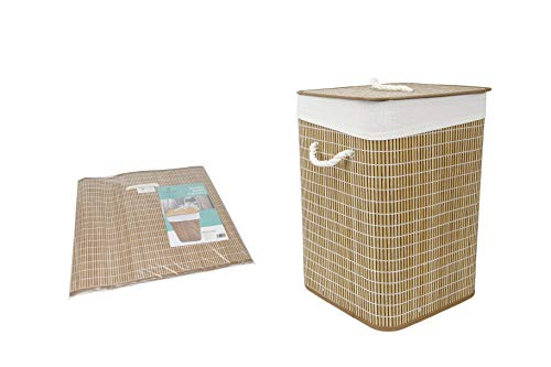 Thesecrethome.es | Cesto ropa sucia con tapa | plegable con funda interior | redondo o cuadrado | 35 x 50 cm (Cuadrado-Natural)